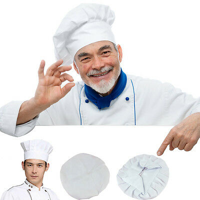 Fancy Dress Party Baker Cook Cooking BBQ Kitchen White Chef Hat Elastic Cap