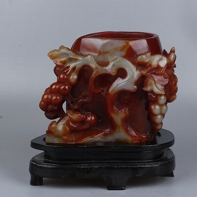 Very Beautiful Of Chinese Natural Agate  Brush Pot Statue