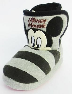Disney Mickey Mouse Childrens Slippers Black/Grey (R4B)