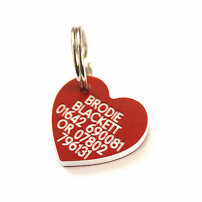 Engraved Plastic pet tag mini heart 22mm x 21mm Dog or Cat