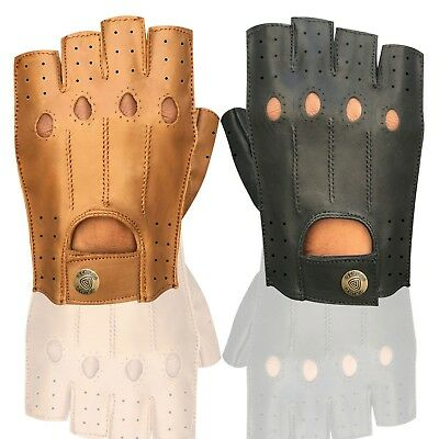 Prime Soft Leather Half Finger Driving Gloves Motorbike Driver Finger less 314