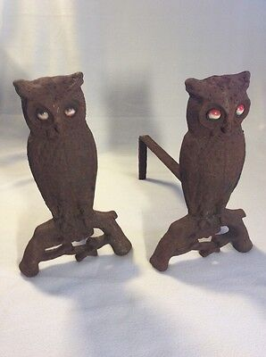 Andirons 1887 Shabby Chic Owl Marble Eyes Cast Iron Rusty