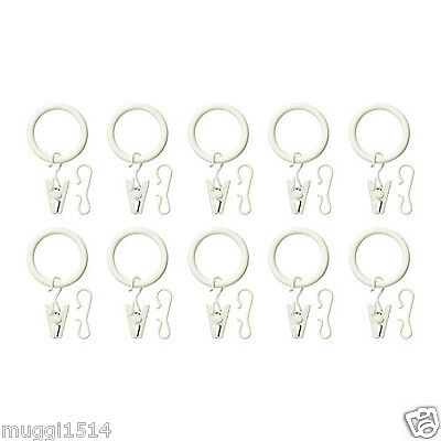 IKEA SYRLIG Curtain Ring With Clip And Hook White 10 Pack White Hang 25 mm