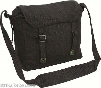 Retro Style Black Army Canvas Webbing Haversack Satchel Messenger Bag