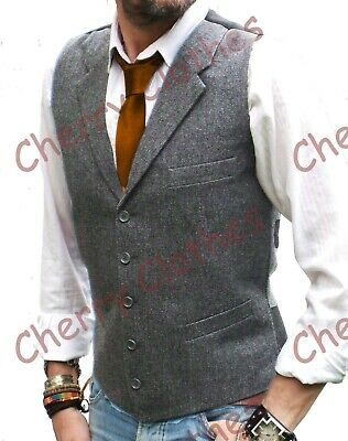 Mens Wool Blend Grey Gray Lapel Collar Donegal Tweed Waistcoat Vest Tailored Fit