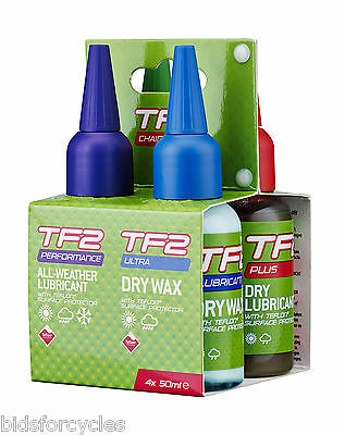 WELDTITE TF2 CYCLE CHAIN LUBE BUNDLE PACK 4 x 50ML DRY WET ALL WEATHER LUBRICANT