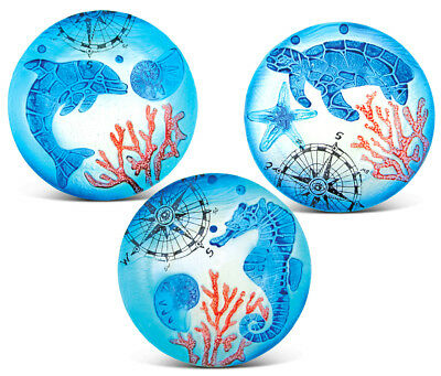 Puzzled 8 Inch Blue Circle Plate Dolphin, Sea Turtle and Sea Horse Glass Déco