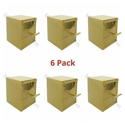 6 x PLASTIC FINCH NEST BOX WITH HOOKS Front & Back For Exotic Finches