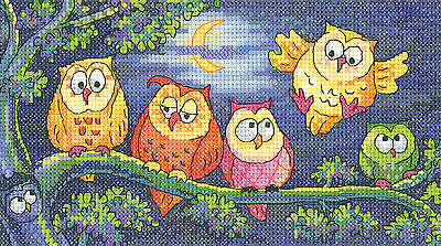 Heritage Crafts Birds Of A Feather A Hoot Of Owls Cross Stitch Kit
