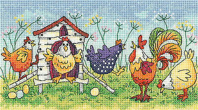 Heritage Crafts Birds Of A Feather Happy Hens Cross Stitch Kit