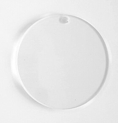 """50 Clear Circle Acrylic Keychains 2"""" Blank Discs 1/16"""" Thick- Acrylic Shapes"""