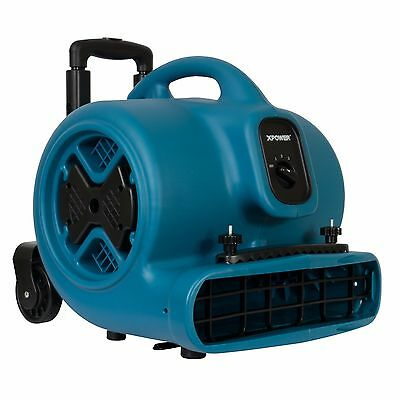 XPOWER P-630HC 1/2 HP Air Mover Blower Dryer w/ Telescopic Handle, Wheels, Clamp