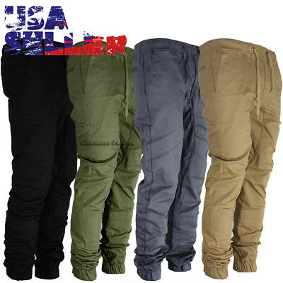 Mens Twill Pants Jogger Hip Hop Elastic Casual Sports Slim Fit Stretch Trousers