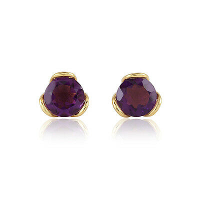 18KT Yellow Gold Plated over Sterling Silver 8mm Choice Of Gemstone Stud Earring