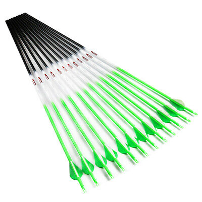 "12X30"" Archery Carbon arrows fluorescen green 2"" Vanes sp340 id6.2mm for bow"