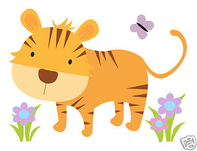 Tiger Mural Wall Decal Baby Girl Safari Jungle Animal Nursery Zoo Art Sticker