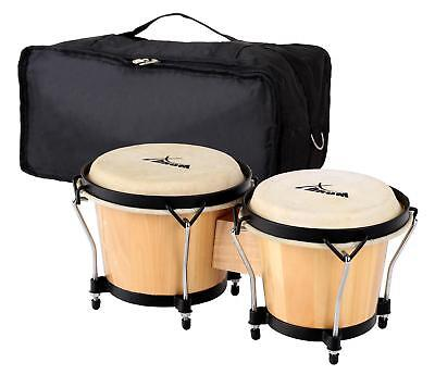 "Bongos Latin Hand Drum Percussion 6"" 7"" Gigbag Black Hardware Natural Finish Set"