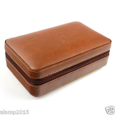 COHIBA Brown Leather Cedar Lined 4 Tube Cigar Case Humidor W/ Lighter Cutter