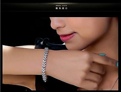18K Real White Gold Filled Made With Swarovski Crystals Tennis Chain Bracelet