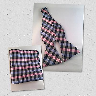 Blue and pink checkered diamond Silk Self Tie Bow Tie and Pocket Square