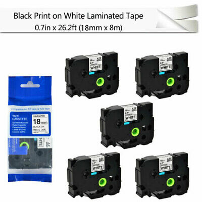 """5PK Black on White Label Tape For Brother P-Touch PT-2730 TZ TZe-241 0.7"""" 18mm"""