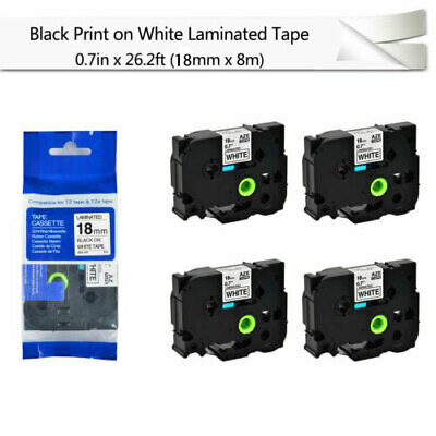 """4PK Black on White Label Tape For Brother P-Touch PT-2730 TZ TZe-241 0.7"""" 18mm"""