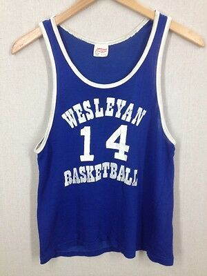 Rare 1950s Wesleyan University Basketball Jersey Hanesport Rayon/Cotton