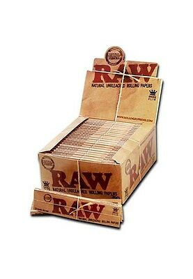 RAW King Size Slim Classic Rolling Papers Natural Hemp Gum unrefined unbleached