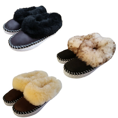Ladies Wool Slippers Winter  Women/'s Hand Made Full Comfort Fluffy Size