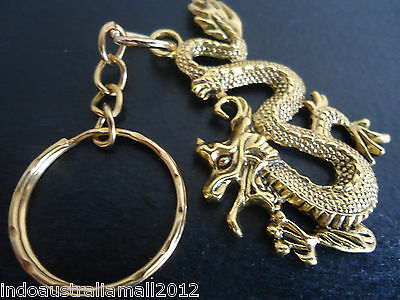 1 x Large Chinese Antique Golden Dragon Alloy Pendant Key Ring (LF1452YKG)