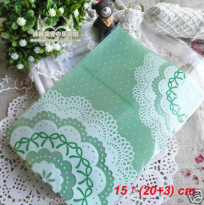 30 x Green Lace self-adhesive Bag treat food favors cello party plastic gift