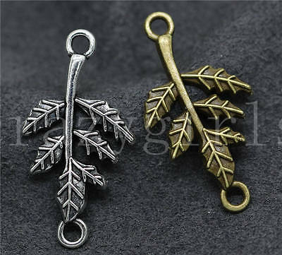 10/40/200pcs Tibetan Silver Beautiful Leaves Jewelry Charms Connectors 32x17mm