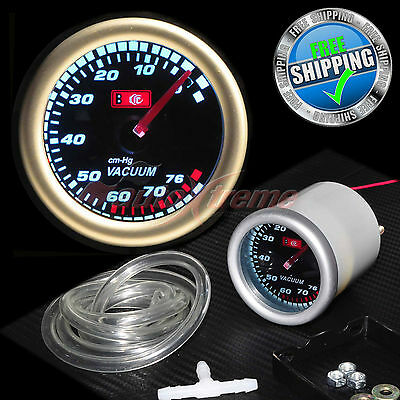52mm 12V CAR Gauge WHITE Light TINTED Lens 270 Degree Scale Meter VACUUM RATIO