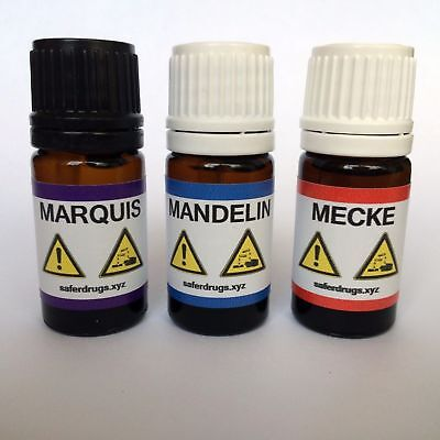 Marquis + Mandelin +Mecke Reagent 5ml + Test vials + Color charts