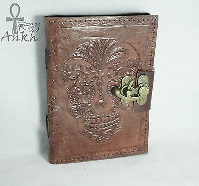 Skull Leather Journal Antique Handmade Paper Blank Book Diary Planner Latch- 5x7