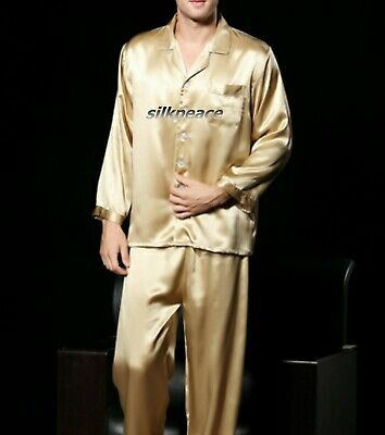 FREE Ship Men Satin Silk Pajama Set US S M L XL 2XL 3XL Multi-Color US Seller