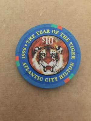 $10 Casino Chip # 13 Limited Edition Year Of The Tiger 1998 Hilton Atlantic City
