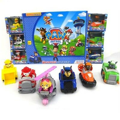 LA PATRULLA CANINA - SET 6 FIGURAS con COCHES / 6 CARS FIGURES SET IN BOXES