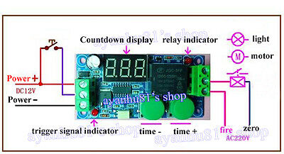 12V Digital Timing Delay Time Timer ON/OFF Module External Trigger Switch 1~100s