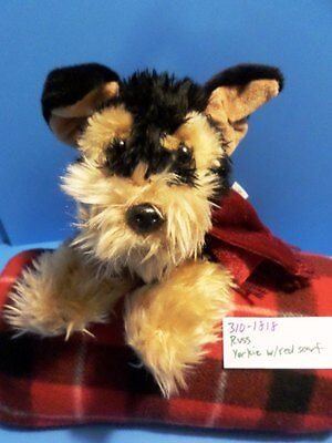 Russ Black and Tan Yorkie With Red Scarf plush(310-1818)