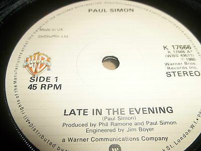 """Paul Simon """" Late In The Evening """" 7"""" Single 1980 Excellent+"""
