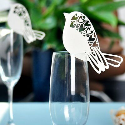 50pcs Table Glass Name Place Card Wedding Party Laser Cut Bird White