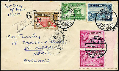 Gold Coast Kukurantumi 1953 First Day Cover + Postage Due