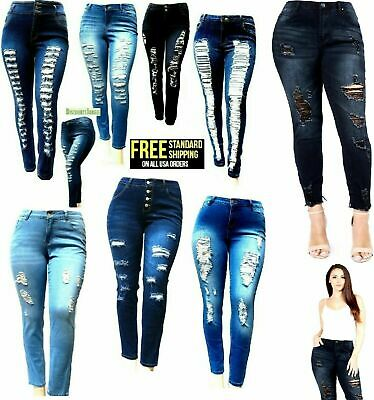 DM WOMENS PLUS SIZE BLUE Denim JEANS Stretch Skinny Ripped Distressed Pants 1110