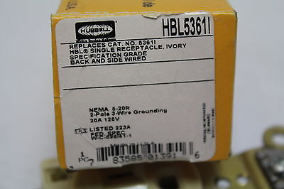 Hubbell HBL5361I Ivory Straight Blade Single Receptacle 20A 125V 3W 5-20R New