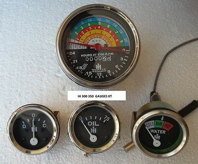 IH Farmall Tractor Gauge-Set-300-350-Gas Utility-Tachometer + Temp + Oil+Ampere