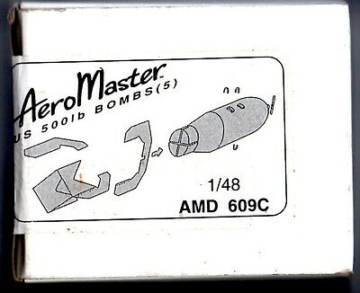 AEROMASTER AMD 609C - US 500lb BOMBS SET 5pcs 1/48 RESIN KIT - NUOVO