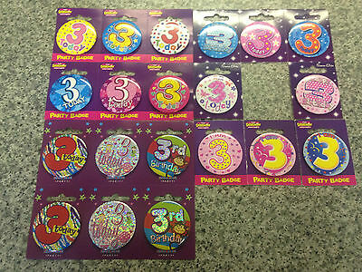 Birthday Badges Boys And Girls Age 3, Brand New Various Designs