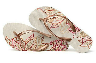 9b37599333c Havaianas Women`s Flip Flops High Light II White Rose Gold Sexy Wedge Sandal  NWT