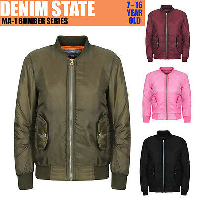 Girls Kids Children Top Quality MA1 Bomber Jacket Winter Coat Warm Biker Pilot